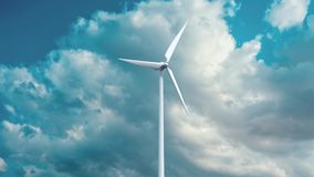 Wind power generators on sky background. Stock Images