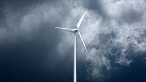 Wind power generators on sky background. Royalty Free Stock Photography