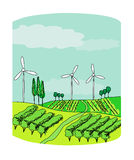 Wind power on a green meadow Stock Photography
