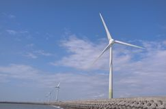 Wind power group at the Shore. One of the new energy in future, Wind power sites in changhwa, Taiwan royalty free stock images