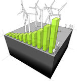 Wind power industry diagram. Diagram of a wind turbine farm with rising bar diagram - symbolising the rising importance/booming of the wind power industry Stock Image