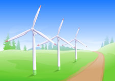 Wind power industry. Windmill energy generator Stock Images