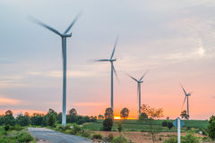 Wind power installations in agriculture the country. Stock Photography