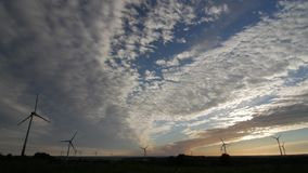 Wind power landscape at sunset. stock footage