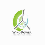 Wind power logo design template. Stock Photo