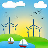 Wind Power Means Turbine Energy And Electric Stock Photo