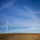 Wind power mill in sky Royalty Free Stock Images