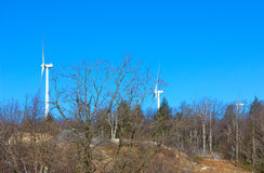Wind power mills against blue sky. Ecologically friendly wind turbines are part of the forestry landscape Royalty Free Stock Images