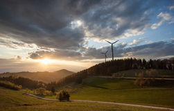 Wind power mills in black forest, Germany Royalty Free Stock Photography
