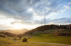 Wind power mills in black forest, Germany Stock Photo