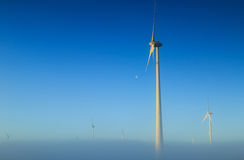 Wind power by moonlight Stock Photography