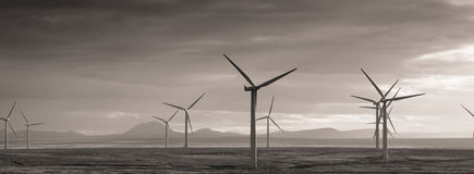 Wind power. One of the many Wind Farms in the harsh Caithness landscape stock photos