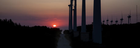 Wind power. This photography is captured in bozcaada island in turkey Royalty Free Stock Photos