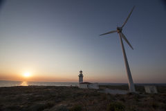 Wind power. This photography is captured in bozcaada island in turkey Royalty Free Stock Photo