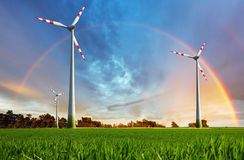 Wind power plant - eco energy Royalty Free Stock Image