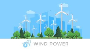 Wind power plant and factory. Wind turbines. Green energy industrial concept. Renewable energy sources. stock images