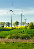 Wind power plant in the fieds Royalty Free Stock Photography