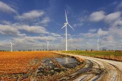Wind power plant in the fieds Stock Image