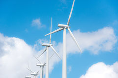 Wind power plant on hilltop Stock Photos