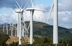 Wind power plant on hilltop Royalty Free Stock Photography