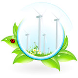 Wind Power Plant Icon. With Leaves and Ladybird Royalty Free Stock Photography