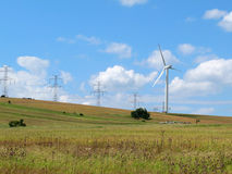 Wind power plant, Ore Mountains, Czech Republic Stock Image