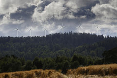 Wind-power plant in rural landscape Stock Photo