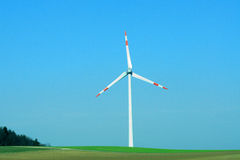 Wind Power Plant. Single wind turbine producing electricity without polution Stock Image