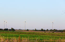 Wind power plant during sunset time Royalty Free Stock Photo