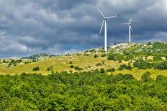 Wind power plant turbines on Velebit mountain Royalty Free Stock Image