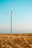 Wind power plant in wheat grain field Royalty Free Stock Images
