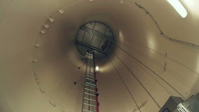 Wind power plant, wind turbine interior stock video footage