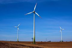 Wind power plant, windmills, renewable energy sources,. Wind energy, a wind turbine Stock Photo
