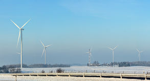 Wind power plant in winter time Stock Image