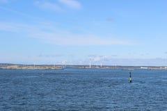 Wind power plants in the archipelago of Gothenburg, Sweden, Scandinavia, islands, ocean, nature Royalty Free Stock Photo