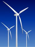Wind power plants on blue back Stock Image