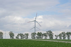 Wind power plants. The photo shows a group of wind turbines. They stand among cultivated fields. In the foreground you can see the potato crop. In the distance Stock Photo