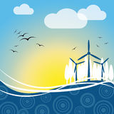 Wind Power Represents Turbine Energy And Electric Royalty Free Stock Images