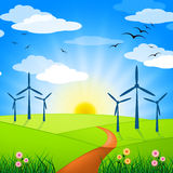 Wind Power Represents Turbine Energy And Electricity Royalty Free Stock Image