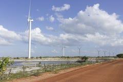 Wind power in Rio Grande do Norte, Brazil. The wind turbines park in Guamare, Rio Grande do Norte, Brazil Stock Photos