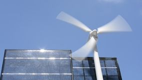Wind power and solar panel stock video footage