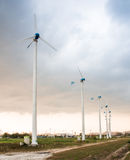 Wind power station against and light sunset Stock Image
