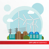 Wind power station. Colorful illustration in a flat style. Stock Photos