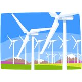Wind power station, ecological energy producing station, renewable resources horizontal vector illustration. On a white background stock illustration