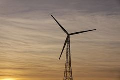 Wind power station (evening light) in Bad Iburg, Germany Stock Photo