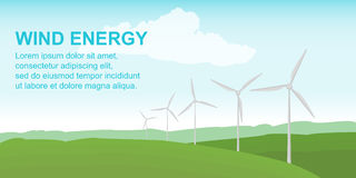 Wind power station on the green field. Alternative safe energy sources. Vector illustration in flat style. Royalty Free Stock Photos