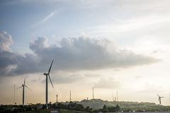 Wind Power. Station on hills at countryside Royalty Free Stock Image