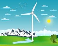Wind power station illustration Stock Images