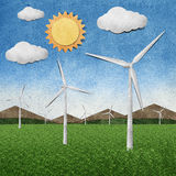 Wind power station recycled paper craft. Stick on paper background vector illustration