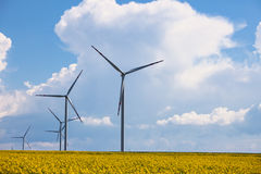 Wind power station at the yellow field Royalty Free Stock Image